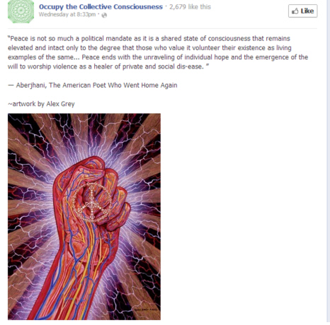 Quotation Peace is not so much a political mandate by Aberjhani with art by Alex Grey