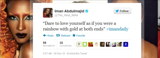 Quotation dare to love yourself by Aberjhani posted on Twitter by Iman Adbulmajid