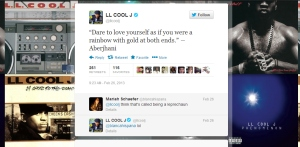 LL Cool J tweeting Dare to Love Yourself quote by Aberjhani