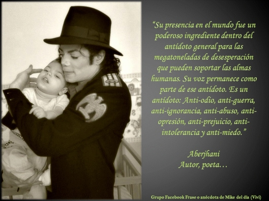 Michael Jackson graphic with Aberjhani qoute by Groupo Facebook Frase o anecdota de Mike del dia Vivi