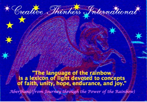 Language of the rainbow quotation 1 by Aberjhani with Pegasus artwork by Postered Poetics