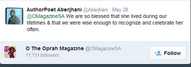 Quotable Poet Aberjhani Tweet and Quote on Maya Angelou favorited by O The Oprah Magazine
