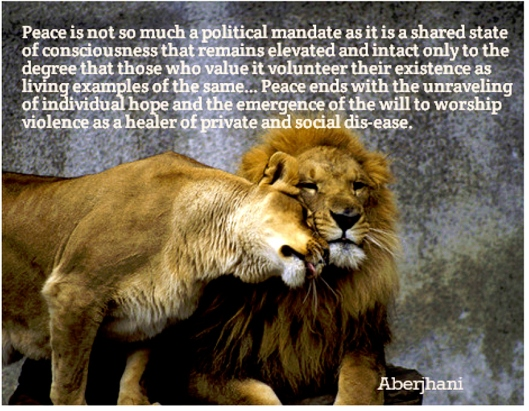 Peace political mandate quote by Aberjhani w quotation graphic by J Wisdom from AZquotes 1
