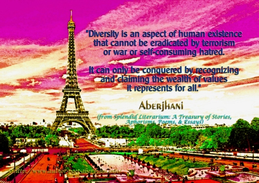 Diversity quote by Aberjhani with Eiffel Tower digital art by Bright Sky Lit Prods 1L