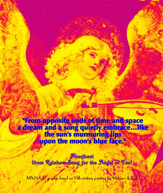 MS25 QP Aberjhani quote graphic based on 15th century painting by Melozzo do Forli